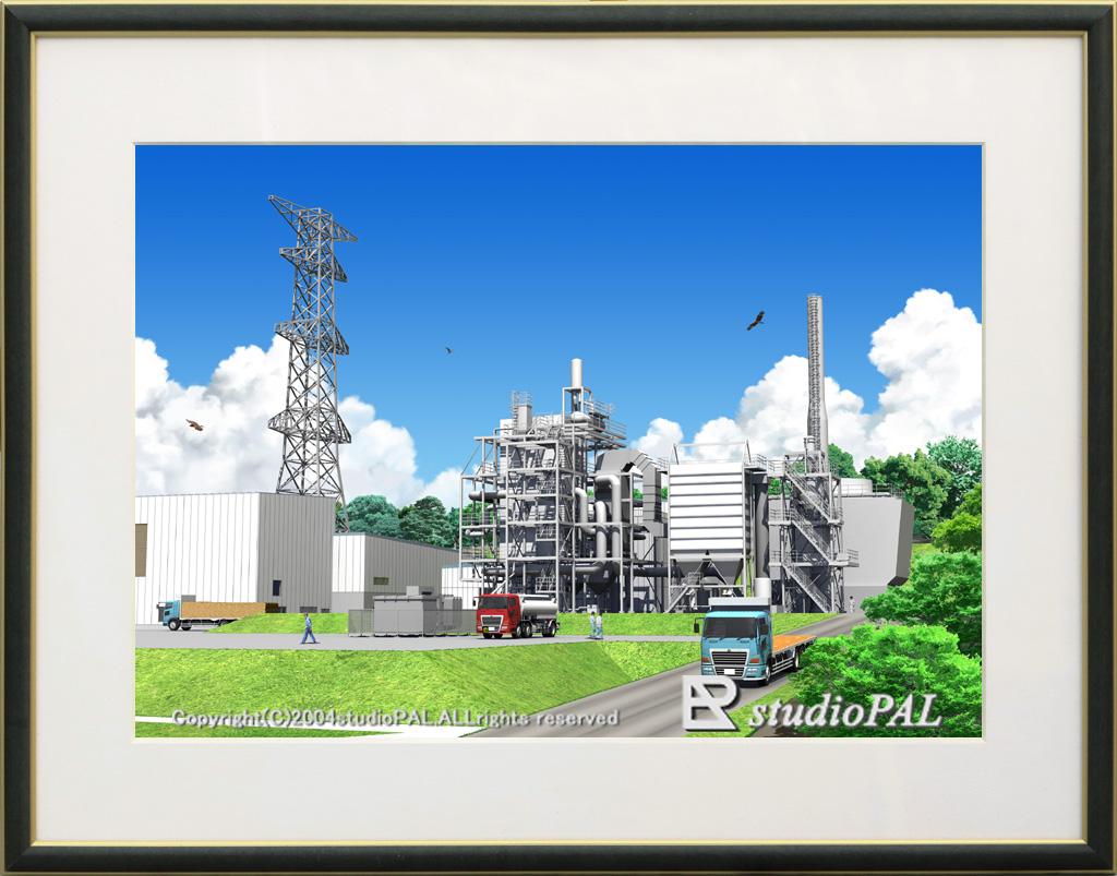 絵画的パース バイオマス発電所