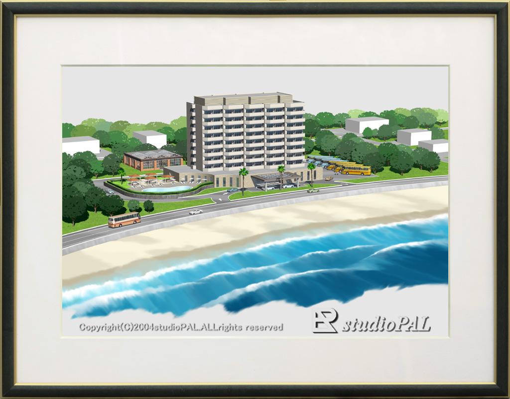 絵画的パース ホテル 鳥瞰パース