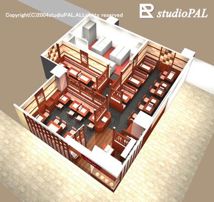 室内パース レストラン鳥瞰パース