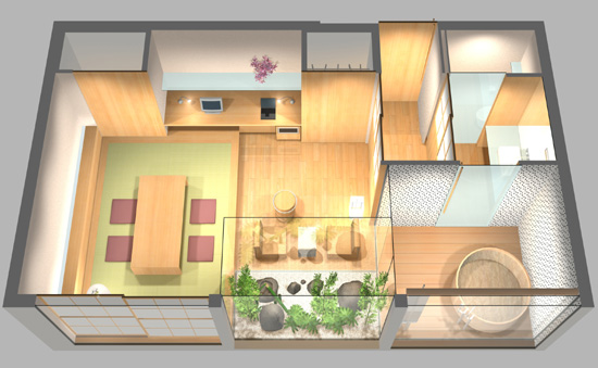室内パース ホテル鳥瞰パース 設計コンペ