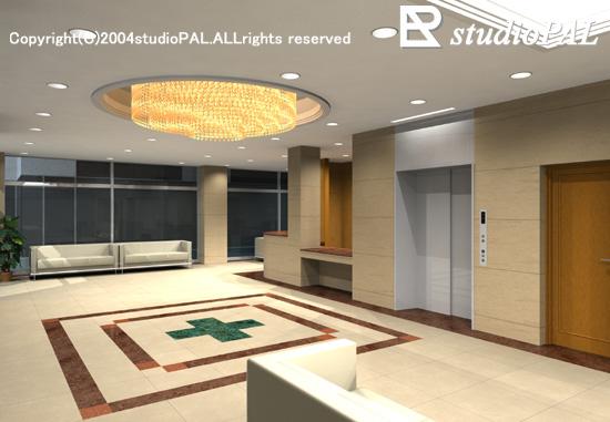 室内パース 総合病院1階ホール