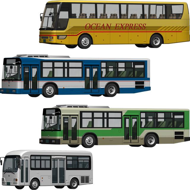 観光バスと路線バス