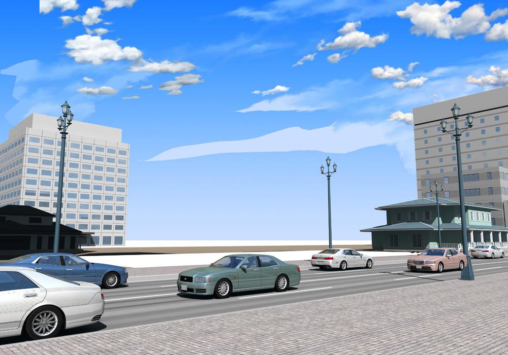 手描きで作成した 建築パースの 背景空画像